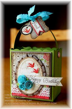 Stampin' Up!  Fancy Favor Box  Heather Klump uses retired, but gorgeous sale-a-bration DSP