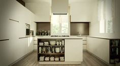 Fascinating Kitchen Island Design With Square Shape And Shelves As Book Storage In White Themed Modern Minimalist Kitchen - Use J/K to navigate to previous and next images