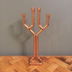 Candelabros de tubo de cobre / sostenedor de vela con 4 brazos