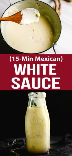 Super delicious Mexican white sauce recipe to add and serve with chicken chimichangas or enchiladas. Super delicious Mexican white sauce recipe to add and serve with chicken chimichangas or enchiladas. Mexican White Sauce, Mexican Cheese Sauce, White Sauce Recipes, Recipes With Enchilada Sauce, Recipes With Green Sauce, White Cheese Enchilada Recipe, Queso Sauce Recipe White, Mexican Burrito Sauce Recipe, White Salsa Recipe