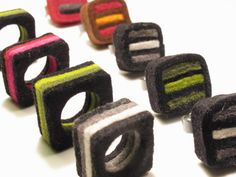 Hole felt Ring . Pink, red and Black. Fabric jewelry. Fiber jewelry.. $14.00, via Etsy.