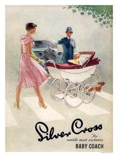 AP1469K - Silver Cross Baby Coach, Policeman 1950s (30x40cm Art Print)