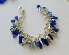 Blue Sea Glass and Pottery Shard Charm Bracelet