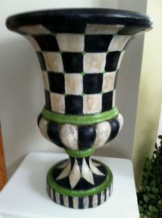 Large Urn Planter Pot Black And White Checked Resin