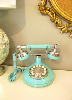 Vintage Turquoise Western Electric Princess Rotary Telephone