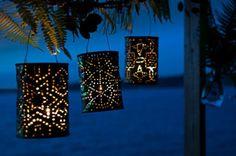 Lampions van blikken. Leuk voor een tuinfeest of balkon decoratie - via Life By Rosie
