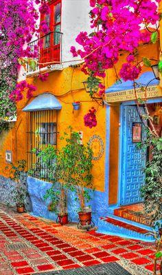 Restorante El Pozo Viejo in Marbella, Spain • photo Rui Pajares on Flickr (I LOVE this look!)
