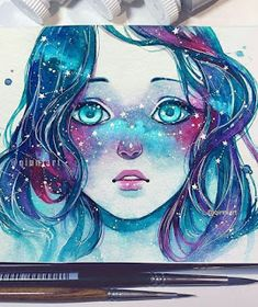 "Drawing the Soul ""Starred Freckles"" Beautiful watercolor + gouache painting by Qinni Anime Art, Watercolor, Art Drawings, Drawings, Galaxy Art, Art, Pretty Art, Beautiful Art, Cool Drawings"