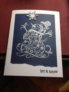 Handmade CHRISTMAS card snowman set of 10