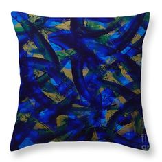 Abstract Throw Pillow featuring the painting Blue Pyramid by Dean Triolo