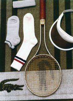 Lacoste Vintage Tennis equipments -- For more vintage accessories, visit my board http://pinterest.com/davidos193/essentials-mens-accessories/