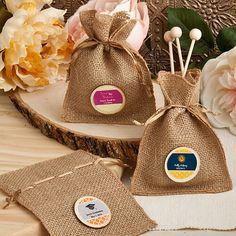 Personalised Burlap Favour Bags.