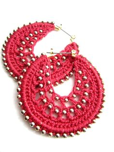 Crocheted hoops with beads in coral and gold