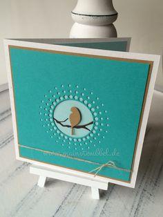 Greeting Card, Memory Box-Large Circle Burst die, woodland branch