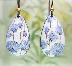 Delft Blue Floral Enamel Earrings, Copper Enamel Jewelry handmade in North Carolina