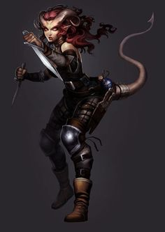 I once had a Tiefling Rogue named Newt in Forgotten Realms. - Tiefling Rogue Arena of War Fantasy Races, Fantasy Warrior, Fantasy Girl, Dark Fantasy, Fantasy Women, Dungeons And Dragons Characters, D D Characters, Fantasy Characters, Dungeons And Dragons Rogue