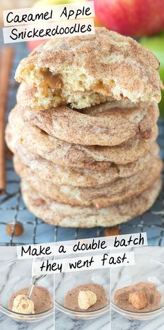 Caramel apple snickerdoodles – a fall twist on snickerdoodle cookies! These actually taste like caramel apple and remind me of those green caramel apple suckers! #caramelapplesnickerdoodles #caramelapplecookies #cookies #snickerdoodles