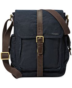 Fossil Estate Casual Cotton Canvas North-South Commuter Bag - Bags & Backpacks - Men - Macy's