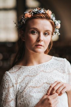Luna Bride Wedding Dress - Dusky Blue & Copper Wedding Inspiration From The Pumping House Ollerton With Images From Pear & Bear Photography Styling by Save The Date Event Stylists