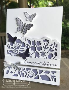 by Wendy: Floral Phrases, Papillon Potpourri, Elegant & Bitty Butterfly punches, Detail Floral Thinlits - all from Stampin' Up!
