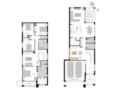 Tulloch 31 - Two Storey Floor plan. Two Storey House Plans, Narrow House Plans, Floor Plans 2 Story, House Floor Plans, Mcdonald Jones Homes, American Houses, Storey Homes, The Design Files, Large Homes