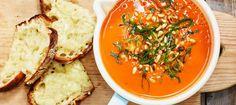Tomaattikeitto tuoreista tomaateista - Reseptit - Arla Risotto, Dinner, Ethnic Recipes, Koti, Dining, Food Dinners, Dinners