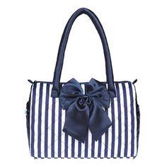 usd39.99/Image of  Leisure Navy Style Strip Print Diamond Check Bowknot Handbag