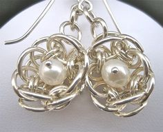 This is an original design I created using silver filled 18 gauge jump rings and white freshwater cultured pearls. It was published in the January 2012 issue of Bead Style Magazine.  ~~~ From Omisilver
