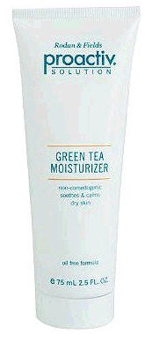 Proactiv Solution Green Tea Moisturizer 2.5 Ounces by Proactiv. $26.80. Green Tea Moisturizer 2.5 Ounces. The moisturizer feels feather light and non-greasy on your skin, but it's rich in minerals and botanicals (including extracts of green tea, iris and macadamia nut) to help your complexion retain moisture and regulate oil.  Apply at night.  Oil free and non-comedogenic.