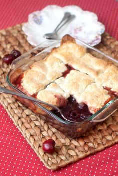 Wolfgang Puck's Fresh Cherry Cobbler with Shortbread Topping