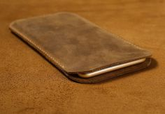Brown Distressed Leather Iphone 6 plus sleeve by CanvasLeatherArt