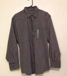 Mens Covington Button front Black And Gray Stripped Long Sleeve Shirt sz L 42/44 #Covington #ButtonFront