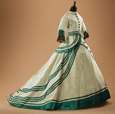 Walking dress, 1860's Collection of Alexander Vassiliev. Fabulous emerald color and love the graphic stripes!