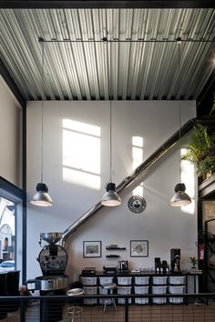 Shipping Container Home Designs, Container House Design, Steel Frame House, Steel House, Coffee Shop Interior Design, Small Cafe Design, Restaurant Lighting, Coffee Store, Metal Building Homes