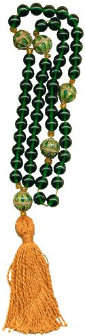 Modern rosary in medieval style with green glass beads, enameled metal gauds, and a silk tassel