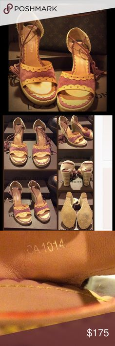 """Authentic Louis Espadrilles Wedges Purple suede with vachetta leather trim, peep toes, jute wedge soles and tie closures at ankles. Shoes are in """"like new"""" condition. Barely worn (as seen in pics). Ties have little wear on them. Feel free to ask any questions! Louis Vuitton Shoes Wedges"""