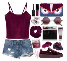 """""""echoes of silence"""" by sarase on Polyvore featuring WithChic, Fendi, RVCA, Puma, Smashbox, BOBBY, Korres, Topshop, DK and Sara Happ"""