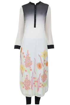 Ivory shaded flower show long kurta set available only at Pernia's Pop-Up Shop