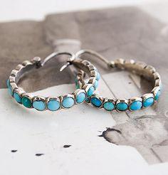 Victorian Turquoise Hoop Earrings, $825.00