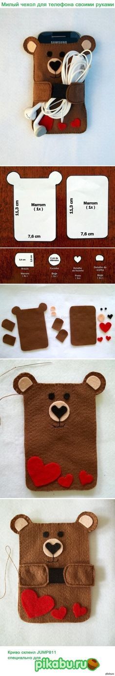 Cómo hacer un Porta iPhone con forma de oso en fieltro ✿⊱╮ Fabric Crafts, Ear Phone Holder, Diy Phone Holders, Diy Purse Holder, Diy Phone Bag, Crafts To Do, Cute Crafts, Felt Crafts, Sewing Projects