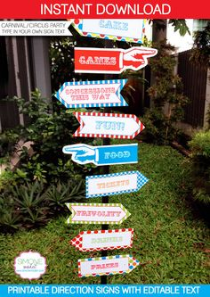 Carnival Circus Direction Signs - INSTANT DOWNLOAD PDF file with editable text (you easily personalize text at home using Adobe Reader)