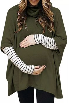 Winter Maternity Hoodie Sweatshirt For Women Pregnant High Collar Long Sleeve Splicing Stripe Tops Pullover Blouse Outwear#g4 Plus Size Pregnancy, Pre Pregnancy, Nursing Clothes, Stripe Print, Cowl Neck, Perfect Fit, Maternity, Fashion, Moda