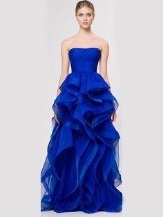A-line/Princess Trägerloser Ausschnitt rmellos Rüschen Floor-length Organza Kleiden
