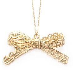 """so nostalgisch: Halskette mit vergoldeter Spitzenschleife  """"For You"""""""