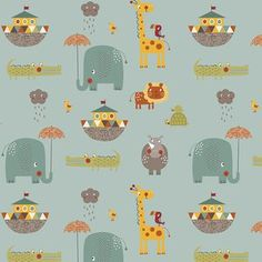Riley Blake Designs - Giraffe Crossing 2 - Giraffe Crossing 2 Main in Teal