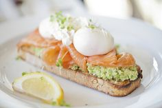 avocado bruschetta with smoked salmon + poached egg