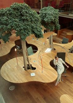 Natural Office Design with Principle of the Hemisphere – Architects Pons & Huot Paris Office, with live trees growing outta desks! http://www.pottgiesser.fr/christian_pottgiesser_architecturespossibles/pons_+_huot.html