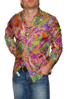 My hubby is the sexiest man on earth!  He would make this look great!  Polo Ralph Lauren Purple Label Mens Silk Paisley Shirt Green Orange