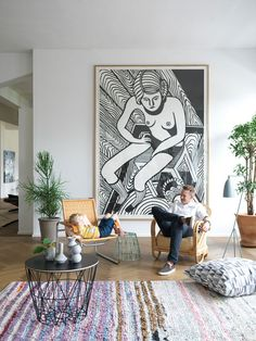 Big statement piece of art for living room