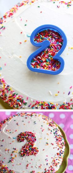 Cake Decor  Use a cookie cutter to decorate your sprinkle cake! Numbers, shapes, letters, the possibilities are endless!